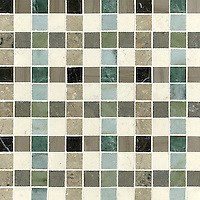 Bonnie, a stone mosaic field shown in Saint Laurent, Driftwood, Kay's Green, Wujan Jade, Bianco Antico polished, Montevideo, Verde Luna, Jura Beige and Jura Grey honed, is part of the Plaids and Ginghams Collection by New Ravenna Mosaics.