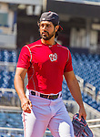 19 September 2015: Washington Nationals starting pitcher Gio Gonzalez walks to the outfield prior to a game against the Miami Marlins at Nationals Park in Washington, DC. The Nationals defeated the Marlins 5-2 in the third game of their 4-game series. Mandatory Credit: Ed Wolfstein Photo *** RAW (NEF) Image File Available ***