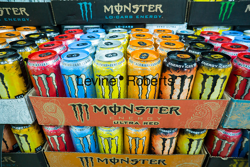 A display of Monster brand energy drinks on sale in a convenience store in New York on Saturday, July 11, 2015.  The popular energy drink is partially owned by Coca-Cola. (© Richard B. Levine)