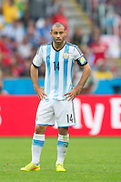 Javier Mascherano of Argentina looks dejected