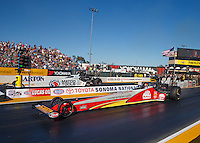 Jul 29, 2016; Sonoma, CA, USA; NHRA top fuel driver Doug Kalitta (near) races alongside Antron Brown during qualifying for the Sonoma Nationals at Sonoma Raceway. Mandatory Credit: Mark J. Rebilas-USA TODAY Sports