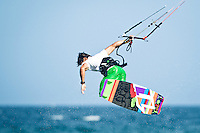 The last leg of the 2010 PKRA World Kiteboarding Tour has come to the Gold Coast, Australia - Reno Romeu from Brazil in action in a round of the single elimination freestyle. Reno ended up in 4th place.
