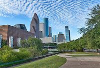 Houston skyline from Sesquicentennial Park in downtown Houston.  It was one of those morning with beaufiful blue sky and wonderful clouds in the sky to create this nice cityscape of the city.