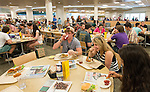 (Left to Right) Blake Taylor, Riley Jacobs and Emily Hinton eat lunch together at Riley Dining Hall as part of Bobcat Student Orientation. Photo by Ben Siegel/ Ohio University