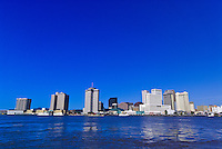 Looking across the Mississippi River to the skyline of New Orleans, Louisiana, USA