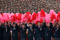 Participants in uniforms shout slogans during a mass rally and parade in the capital's main ceremonial square, a day after the ruling party wrapped up its first congress in 36 years by elevating him to party chairman, in Pyongyang, North Korea May 10, 2016.  REUTERS/Damir Sagolj