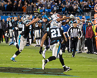 The Carolina Panthers play the New England Patriots at Bank of America Stadium in Charlotte North Carolina on Monday Night Football.  The Panthers defeated the Patriots 24-20.  New England Patriots running back Shane Vereen (34), Carolina Panthers free safety Mike Mitchell (21), Carolina Panthers middle linebacker Luke Kuechly (59)