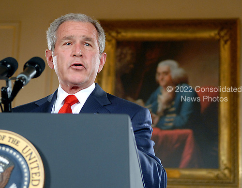 Washington, D.C. - October 24, 2007 -- United States President George W. Bush makes Remarks on Cuba Policy at the United States Department of State in Washington, D.C. on Wednesday, October 24, 2007..Credit: Ron Sachs / Pool via CNP