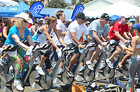 One hundred cyclist spin at the Santa Monica Pier during ?Pedal on the Pier 100 Mile-A-Thon? on Sunday, June 3, 2012. This event was organized to raise funds for the Harold Robinson Foundation which provides underprivileged children the means, free of cost, to attend a safe, nurturing and non-competitive camp environment where they will experience nature and participate in diverse recreational programs designed to strengthen confidence and independence, build character and develop leadership skills. It is the vision of the Harold Robinson Foundation to provide a level playing field for our community's underserved children.