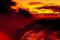 Spectators viewing lava to the sea, Big Island