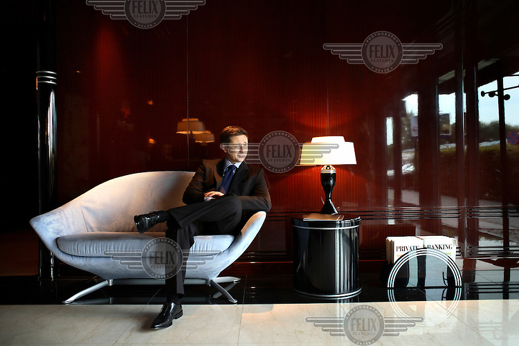 Head of Noble Bank, Jaroslaw Augustyniak, at his office in Warsaw. Noble Bank specialises in private banking and serves only the richest clients...
