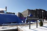 24 January 2016: Krzyzewskiville, a Duke student campground next to Cameron Indoor Stadium (behind, right) in Durham, North Carolina.