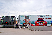 Team Chevy trailer truck parked on Miami Beach during a NASCAR promotional event.