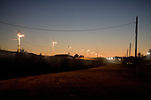 Agua Prieta, Mexico.October 22, 2006..The border fence at sunrise from the Mexican side of the border to deter immigrates from entering the USA illegally at the Douglas port of entry..