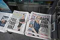 Headlines of New York newspapers on Tuesday, May 22, 2012 report on the discrimination suit brought by Lauren Odes against her former employer, lingerie distributor Native Intimates, over the size of her breasts. (© Richard B. Levine)