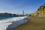 San Francisco: Baker Beach with Golden Gate Bridge in background.  Photo # 2-casanf83770.  Photo copyright Lee Foster