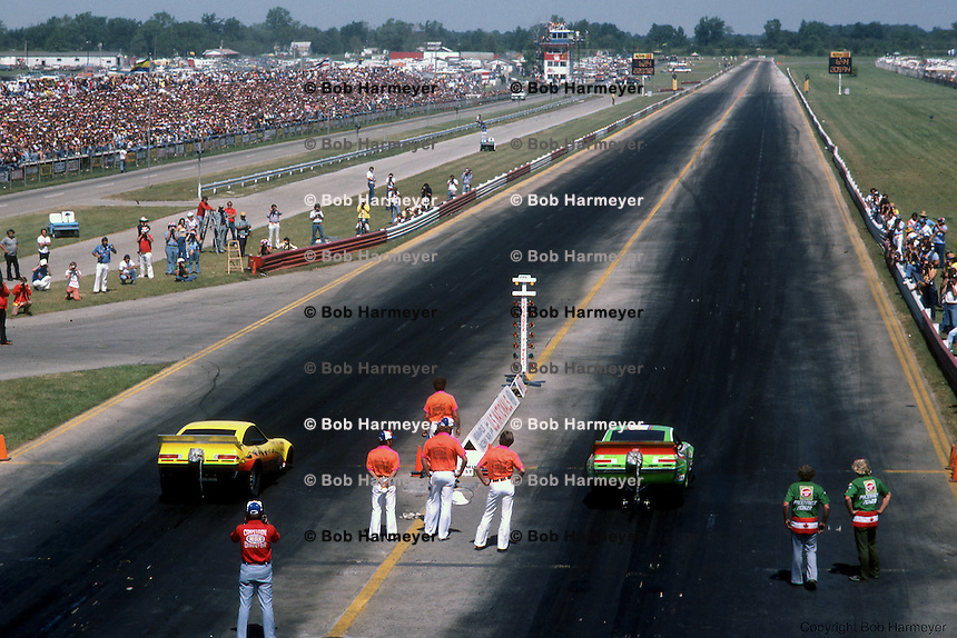 INDIANAPOLIS, INDIANA: Overall view of the drag strip at Indianapolis Raceway Park during the 1976 US Nationals NHRA drag race.