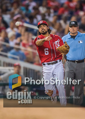 23 July 2016: Washington Nationals infielder Anthony Rendon gets an out against the San Diego Padres at Nationals Park in Washington, DC. The Nationals defeated the Padres 3-2 to tie their series at one game apiece. Mandatory Credit: Ed Wolfstein Photo *** RAW (NEF) Image File Available ***