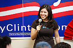 Actress America Ferrera, best-known for her role as Betty Suarez on the ABC television program Ugly Betty, speaks to a group of people who assembled to support presidential candidate Hillary Clinton at a pep rally, Feb. 17, 2008, at the Clinton presidential campaign headquarters in San Antonio. (Darren Abate/PressPhotoIntl.com)