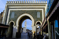 Morocco. The medina in Fes, Fes el Bali, is on UNESCO's World Heritage Site list. The green gate.