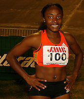 Bianca Knight after her win in the 200m with a time of 22.62sec. at the Jamaica International Invitational on Saturday, May 3rd. 2008. Photo by Errol Anderson, The Sporting Image.