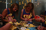 Members of the Delta Gamma DanceBlue team, Katherine Jay, a biology sophomore, and Quinn Bragg, a business management sophomore, create ribbons for encouragement to be hung on the Inspiration Wall.