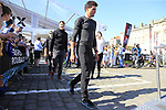 Greg Van Avermaet (BEL) leads BMC Racing Team to the Team Presentation for the upcoming 115th edition of the Paris-Roubaix 2017 race held in Compiegne, France. 8th April 2017.<br /> Picture: Eoin Clarke | Cyclefile<br /> <br /> <br /> All photos usage must carry mandatory copyright credit (&copy; Cyclefile | Eoin Clarke)