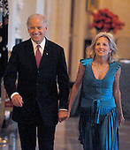 "Washington, D.C. - May 12, 2009 -- United States Vice President Joseph Biden and Dr. Jill Biden enter the East Room of the White House as United States President Barack Obama and first lady Michelle Obama host ""An Evening of Poetry, Music and the Spoken Word at the White House in Washington, DC on Tuesday, May 12, 2009..Credit: Ron Sachs / Pool via CNP"