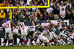 9 Oct 2008: Philadelphia Eagles defense including Stewart Bradley and Juqua Parker attempt to block a field goal during the game against the New York Giants on October 9th, 2008. The Giants won 36-31 at Lincoln Financial Field in Philadelphia, Pennsylvania.