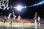 31 MAR 1984:  Patrick Ewing (33) of Georgetown goes up for the dunk during the Final Four Men's Basketball Semifinal held in Seattle, WA at the Kingdome.  Georgetown defeated Kentucky 53-40 to advance to the championship game. .Photo Copyright Rich Clarkson.SI CD 0431-14