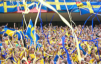 Swedish fans celebrate before the game. England and Sweden played to a 2-2 tie in their FIFA World Cup Group B match at  FIFA World Cup Stadium, Cologne, Germany, June 20, 2006.