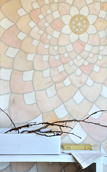 Ever Expandind Lotus, a stone mosaic shown in honed Rosa Portagallo, Ivory Cream, and Jerusalem Gold is by Tucker Robbins for New Ravenna Mosaics.