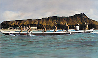 Tourists riding outrigger canoe at Waikiki beach, handtinted archive photo