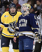 Kyle Bigos (Merrimack - 3), Mike Voran (Notre Dame - 16) - The University of Notre Dame Fighting Irish defeated the Merrimack College Warriors 4-3 in overtime in their NCAA Northeast Regional Semi-Final on Saturday, March 26, 2011, at Verizon Wireless Arena in Manchester, New Hampshire.