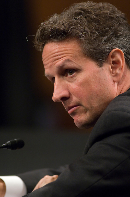 WASHINGTON, DC - June 18: Treasury Secretary Timothy F. Geithner during the Senate Banking hearing on the Obama administration's plan for restructuring the financial regulatory system. (Photo by Scott J. Ferrell/Congressional Quarterly)