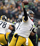 Pittsburgh Steelers quarterback Ben Roethlisberger (7) passes against the Seattle Seahawks at CenturyLink Field in Seattle, Washington on November 29, 2015.  The Seahawks beat the Steelers 39-30.      ©2015. Jim Bryant Photo. All Rights Reserved.