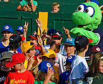 """2 July 2011: Members of the Burlington American Little League stand with mascot """"Champ"""" prior to a game between the Vermont Lake Monsters and the Tri-City ValleyCats at Centennial Field in Burlington, Vermont. The Lake Monsters rallied from a 4-2 deficit to defeat the ValletCats 7-4 in NY Penn League action. Mandatory Credit: Ed Wolfstein Photo"""