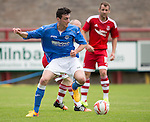 Aberdeen v St Johnstone...28.06.15  Glebe Park, Brechin..Pre-Season Friendly<br /> Joe Shaughnessy battles with Willo Flood<br /> Picture by Graeme Hart.<br /> Copyright Perthshire Picture Agency<br /> Tel: 01738 623350  Mobile: 07990 594431