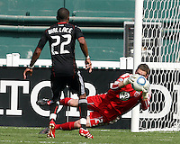 Rodney Wallace #22 turns to see Troy Perkins #23 of D.C. United make a save during an MLS match against the New York Red Bulls on May 1 2010, at RFK Stadium in Washington D.C.