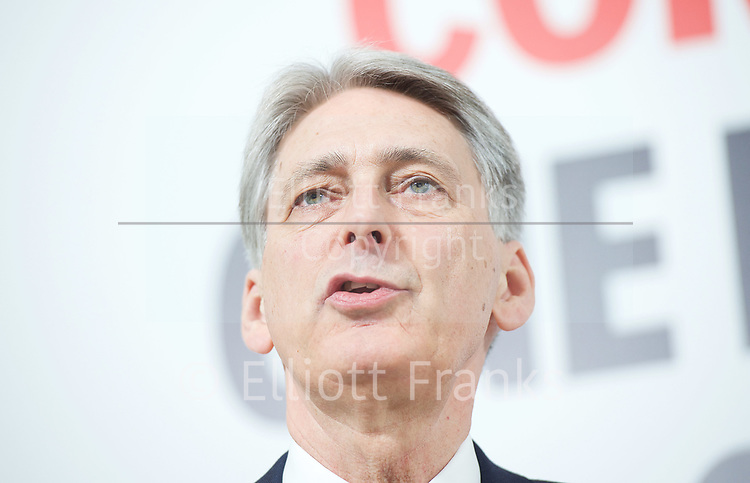 Philip Hammond,<br /> Chancellor of the Exchequer  <br /> and David Davis, Secretary of State for Exiting the European Union<br /> speak at a campaign event in Central London, Great Britain <br /> 3rd May 2017 <br />  <br /> <br /> Photograph by Elliott Franks <br /> Image licensed to Elliott Franks Photography Services