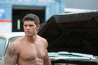 shirtless auto mechanic at a garage portrait of a handsome shirtless man with a green eyes and muscular body