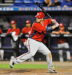 5 March 2012: Washington Nationals outfielder Bryce Harper in action during a Spring Training game against the New York Mets at Digital Domain Park in Port St. Lucie, Florida. The Nationals defeated the Mets 3-1 in Grapefruit League play. Mandatory Credit: Ed Wolfstein Photo