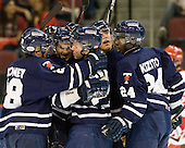The Varsity Blues celebrate Byron Elliott's (Toronto - 17) goal which gave Toronto a 3-2 lead late in the first period. - The Boston University Terriers defeated the visiting University of Toronto Varsity Blues 9-3 on Saturday, October 2, 2010, at Agganis Arena in Boston, MA.