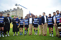 Bath Rugby players look on in a post-match huddle. Aviva Premiership match, between Bath Rugby and Gloucester Rugby on April 30, 2017 at the Recreation Ground in Bath, England. Photo by: Patrick Khachfe / Onside Images