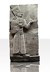 Picture & image of a Neo-Hittite orthostat showing a releif sculpture  of the Goddess Kubaba from Karkamis,, Turkey. Ancora Archaeological Museum. 6 In her right hand she is holding a pomegranate
