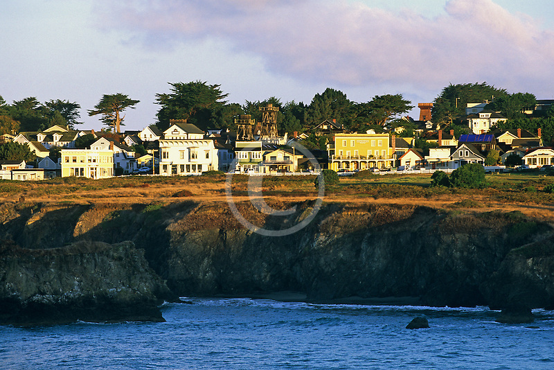 California, Mendocino , Town center and coastal bluff