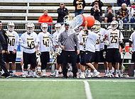 Towson, MD - May 6, 2017: Towson Tigers players celebrate their third consecutive CAA Championship by dumping the Gatorade bucket of water on head coach Shawn Nadelen during CAA Championship game between Towson and UMASS at Minnegan Field at Johnny Unitas Stadium  in Towson, MD. (Photo by Phillip Peters/Media Images International)