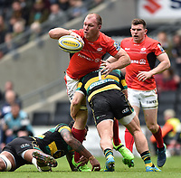 Schalk Burger of Saracens looks to offload the ball after being tackled. Aviva Premiership match, between Northampton Saints and Saracens on April 16, 2017 at Stadium mk in Milton Keynes, England. Photo by: Patrick Khachfe / JMP