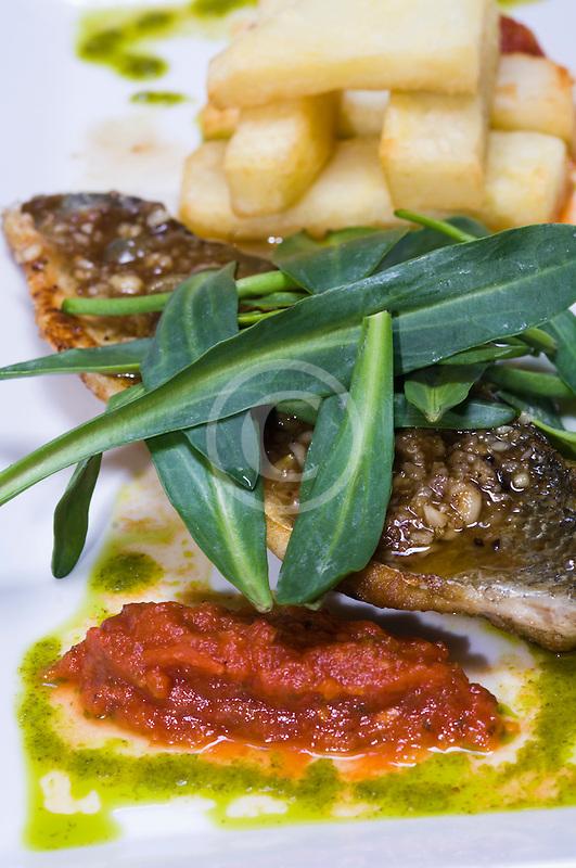 Belgium, Ghent, Fish and pesto