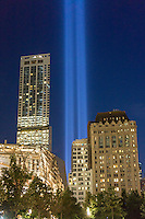 The Tribute in Light is seen from the 9/11 Memorial in New York on September 11, 2014 for the13th anniversary of the September 11, 2001 terrorist attacks. The 88 high intensity lights that comprise the tribute create two vertical columns of light as a commemoration of the Twin Towers and the lives lost in the the 2001 attacks. (© Richard B. Levine)